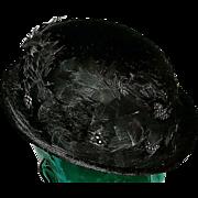 Edwardian Fur & Quail Feather Ladies Bowler Hat