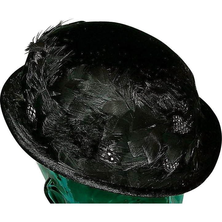 Edwardian Fur & Quail Feather Ladies Bowler Hat