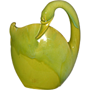 Royal Hickman Florida Large Chartreuse Swan Book Piece Vase
