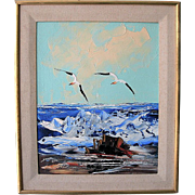 Seascape by Listed American Morris Katz 1932 - 2010, the World's Fastest Artist