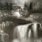 1847 Tryberger Falls Black Forest Engraving Payne's Universum