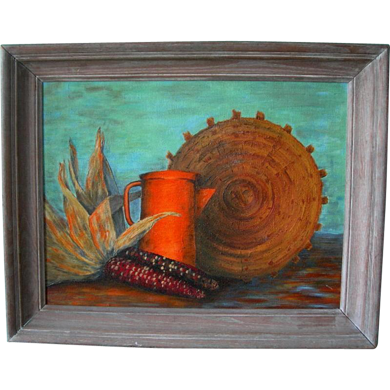 "Native American Glenn Jones Still Life of a Basket, Orange Pitcher, and Indian Corn titled ""Harvest Time"""