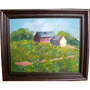 Alfred-Louis Brugere Switzerland Impressionist Oil on Canvas Cabin Landscape