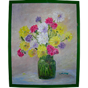Vintage Bouquet Still Life Impressionist Oil on Canvas
