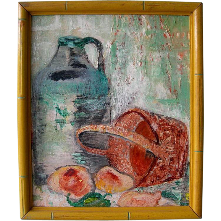 Vintage Framed Jug, Basket & Fruit Still Life
