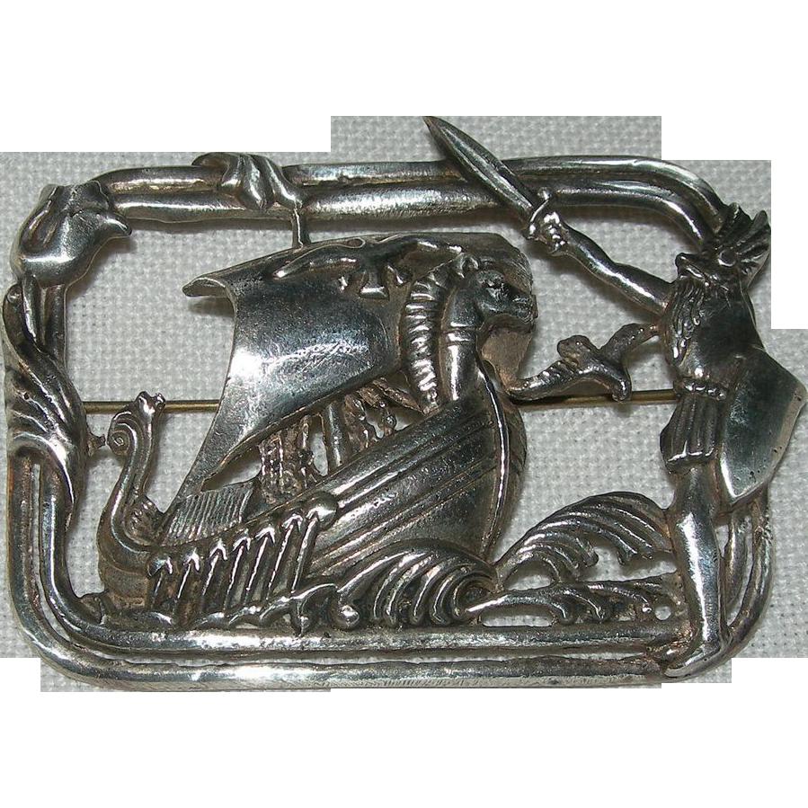 Vintage Sterling Silver Viking Ship Brooch