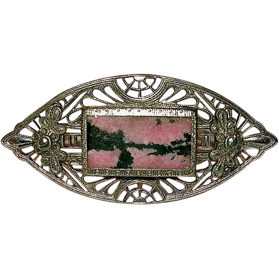 Art Nouveau Pink Rhodonite & Marcasite Openwork Filigree Brooch