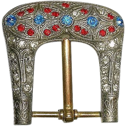 Victorian Red Blue & White Paste Rhinestone Belt Buckle