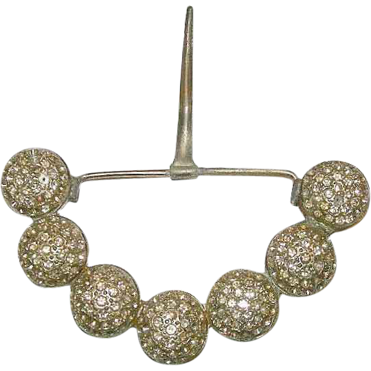 Grand Victorian Large White Paste Rhinestone & Steel Belt Buckle