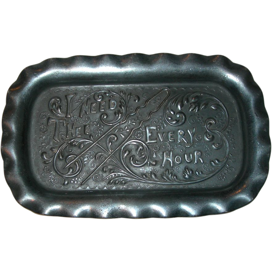 """""""I Need Thee Every Hour"""" Antique Pairpoint Hair Pin Tray"""