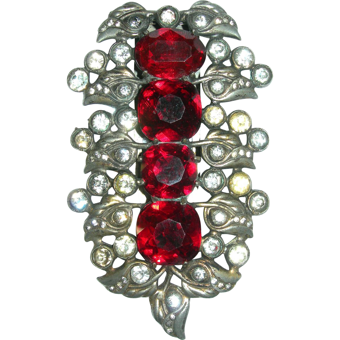 Huge Signed Eisenberg Original Red and Clear Rhinestone Fur Clip