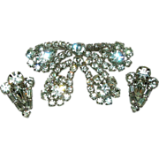Vintage Signed Weiss Brilliant Clear Rhinestones Demi Parure