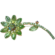 Vintage Green Crystal Rhinestone Flower Brooch