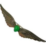 Art Nouveau Chrysophase & Brass Feather / Wings Brooch