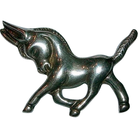 Sterling Silver Mexico Art Deco Burro Pre-eagle Brooch signed Velazquez