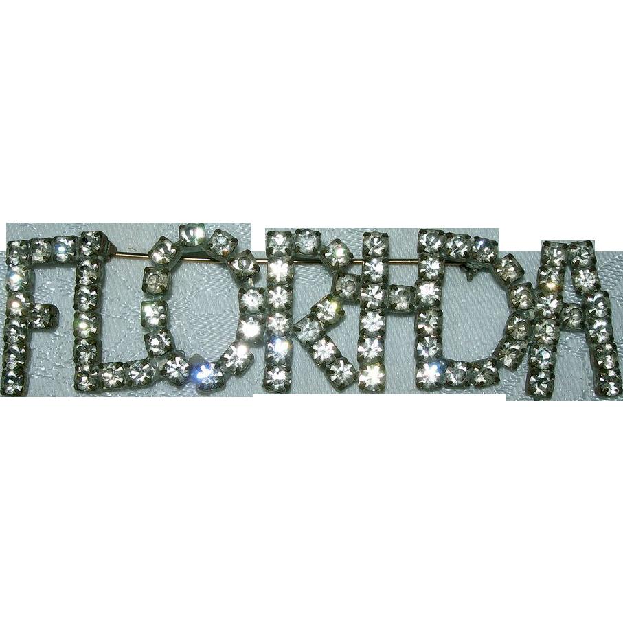 Vintage Rhinestone Florida Souvenir Brooch