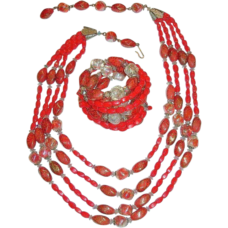 Vintage Signed Hobe Coral Red Gold Art & Crackle Glass Beads Demi Parure Necklace and Bracelet