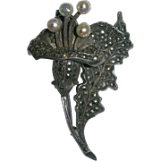 Art Nouveau Pearl, Marcasite & Sterling Silver Lily Brooch - Red Tag Sale Item