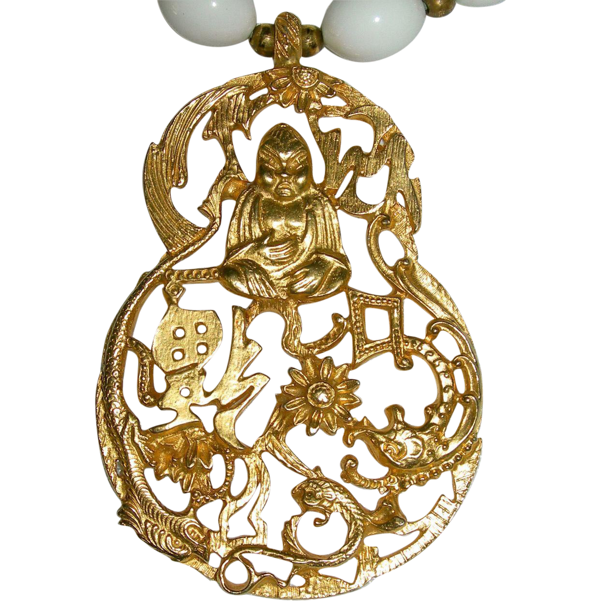 Vintage KENNETH © LANE Saks Exclusive Gilt Gold Buddha Pendant w/ Milk Glass Beads Necklace KJL