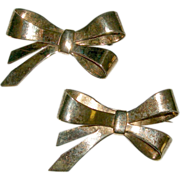 Vintage Pair of Hector Aguilar Mexico for Coro Vermeil Sterling Bow Brooches