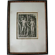 Antique Albrecht Dürer's Adam & Eve in the Garden of Eden