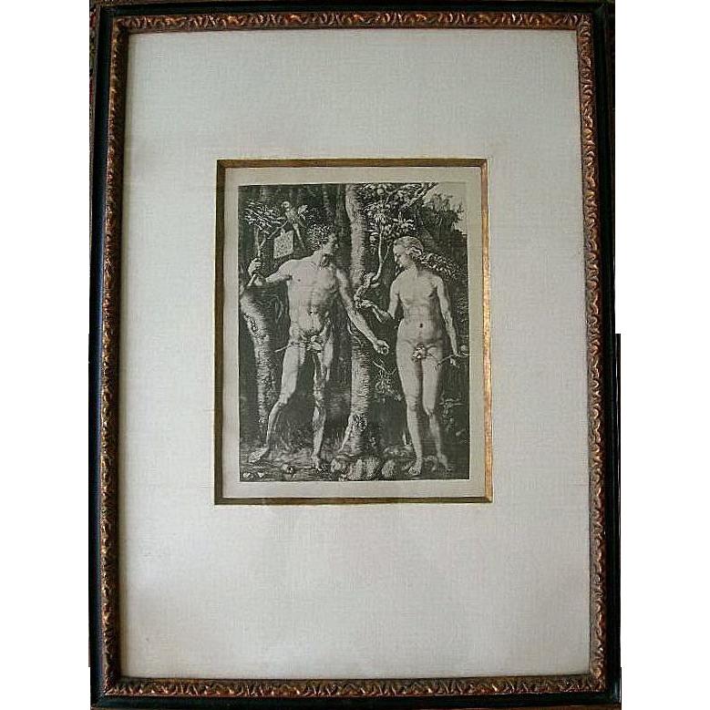 Antique Albrecht Dürer's Adam & Eve in the Garden of Eden