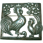 Coro Craft  Sterling Crowing Roosters Brooch