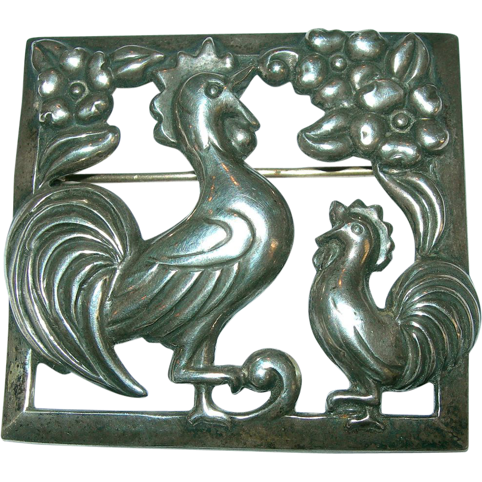 Coro Craft  Sterling Crowing Roosters Brooch