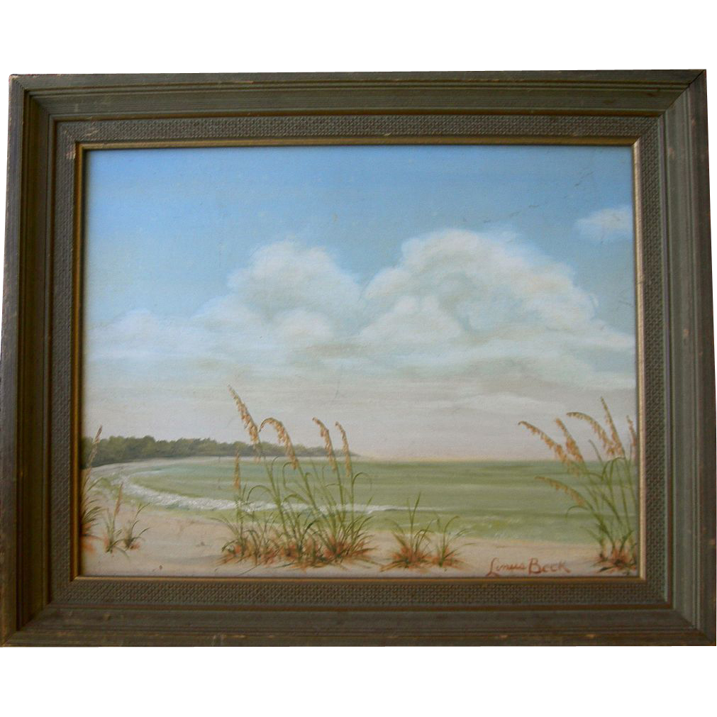 Seascape Oil on Board signed Linus Beck
