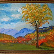 Adirondack Elm Oil on Board Landscape by Florida Artist Ruth E. Claxton