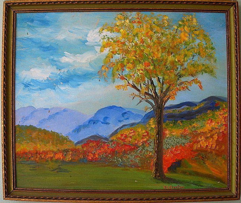 Adirondack Elm Oil On Board Landscape By Florida Artist