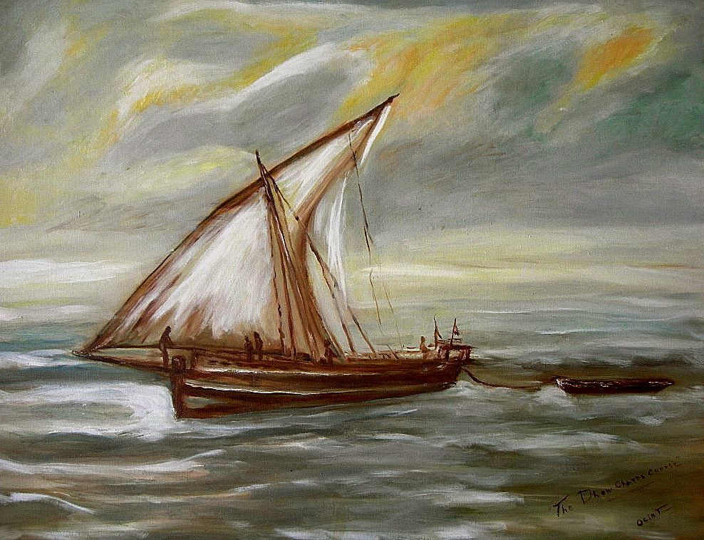 """Oil on Board """"The Dhow Charts Course"""" signed Ociat"""