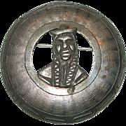 Vintage Sterling Silver Signed V Peru Figural Brooch