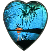 Vintage Tropical Scene Butterfly Wing Heart Brooch