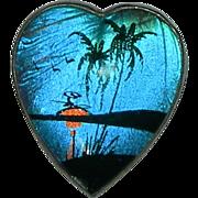 Vintage Tropical Scene Butterfly Wing Heart Brooch