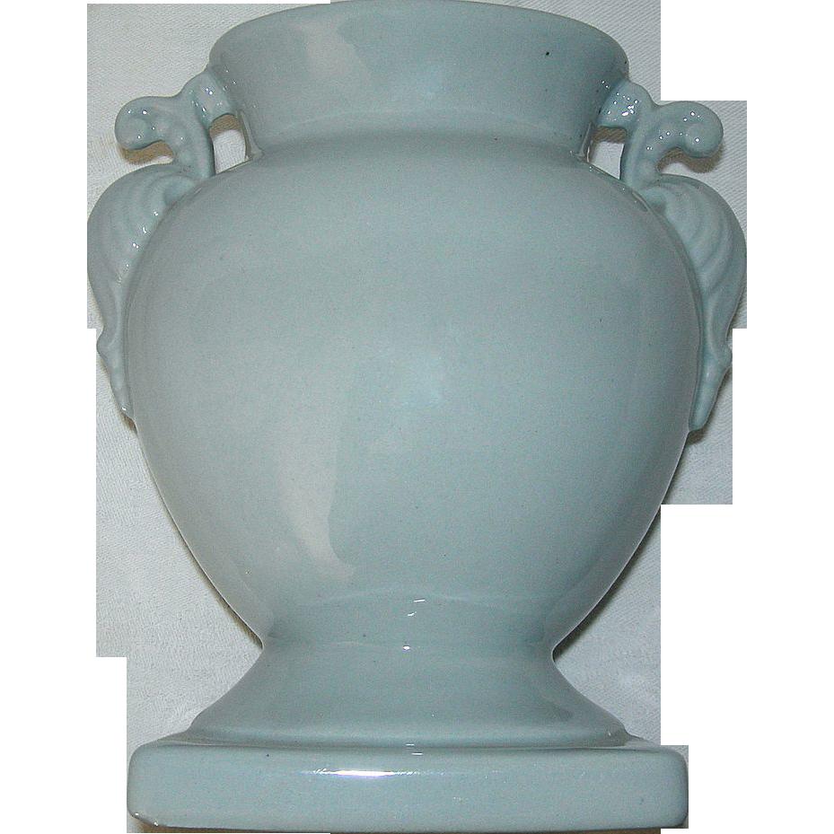 Vintage Circa 1940's Light Blue Ornate Handled Vase