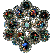 Vintage Large Art Glass Cabochon Rhinestone Brooch