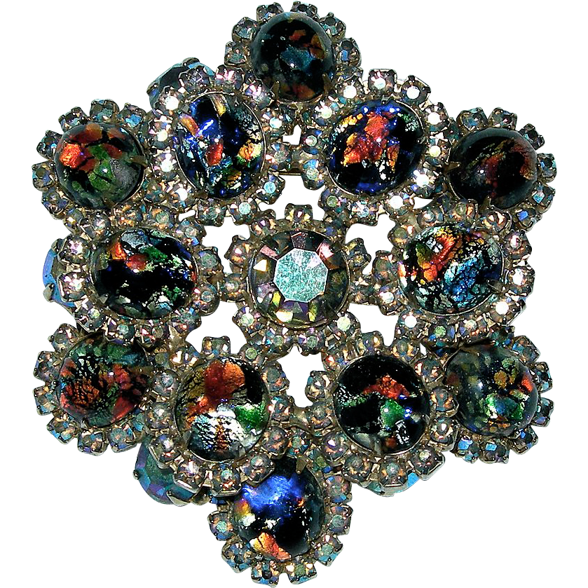 Vintage Large Art Glass Cabochon Rhinestone Brooch