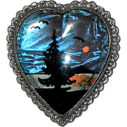 Vintage Island Scene Butterfly Wing Heart Shaped w/ Scalloped Edge Brooch