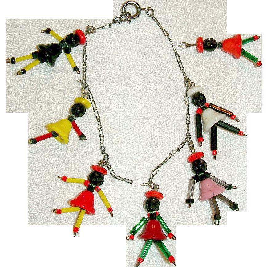 Vintage Cuba Souvenir Glass Beads Bracelet
