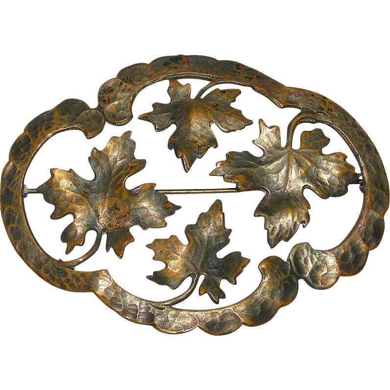 Aesthetic Period Bronze Oak Leaf Sash Pin / Brooch