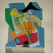MayDay!! MayDay!! Abstract Fabric Collage Art by American Modernist R. Vale Faro