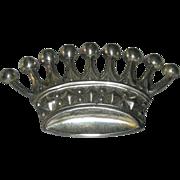 Vintage European Sterling Silver Crown Brooch