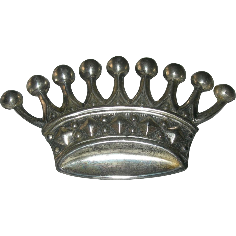 Vintage European Sterling Silver Crown Brooch