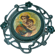 Victorian St Christopher and the Baby Jesus Religious Pin Brooch