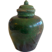 Ming Dynasty Green Ceramic Ginger Jar with Original Lid