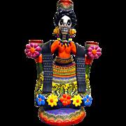 Frida Candle Holder signed by Mexican Folk Art Master Alfonso Castillo