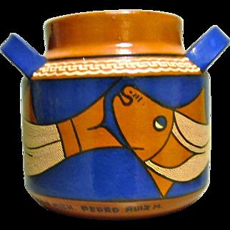 Vintage Mexican Folk Art Pot by Grand Master Pedro Ruiz M.