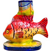 Vintage Mexican Folk Art Fish Candle Holder - Red Tag Sale Item