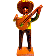Vintage Mexican Folk Art Mariachi Clay Figure
